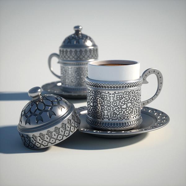 Turkish Coffee Cup CGI